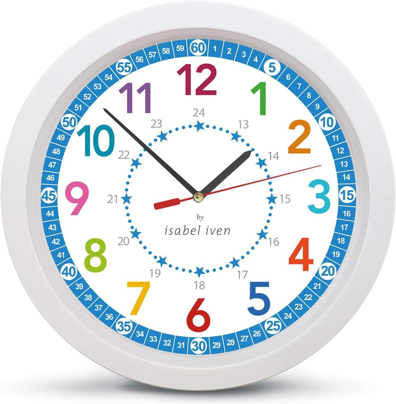 Isabel Iven - Reloj de Pared para niños con Estrellas, Movimiento silencioso – enseña a los niños a Leer un Reloj
