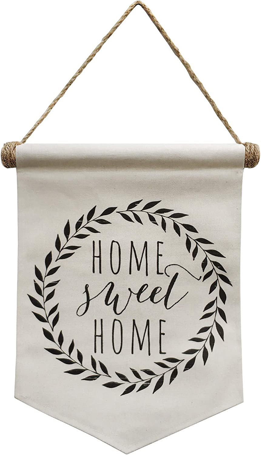 "NITYNP Home Sweet Home Banner Scroll Wall Decor Linen Door Sign with Home Saying 11.41""x14.96"""