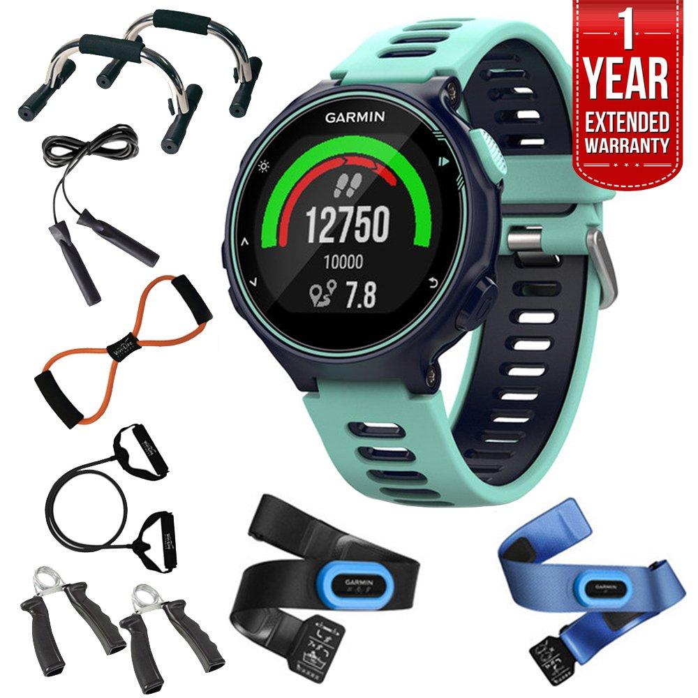 Garmin Forerunner 735XT GPS Running Watch Tri-Bundle - Midnight Blue (010-01614-04) + 7-in-1 Total Resistance Fitness Kit + 1 Year Extended Warranty