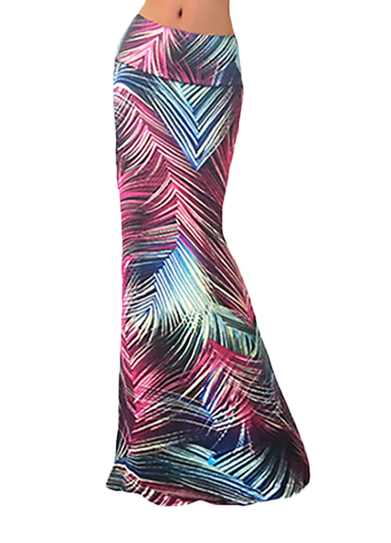 Faldas Mujer Elegantes Fiesta Verano Primavera Invierno Cintura Alta Falda Largas Impresión Moda Casual Elásticos Juvenil Básicos
