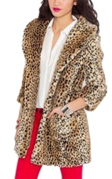 Amazon.com: Leopard Faux chamarra de piel cálido invierno de ...