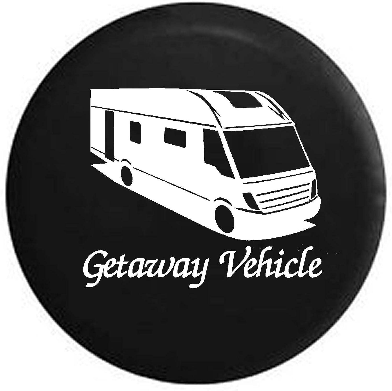 Getaway Vehicle Funny Motorhome RV Camper Trailer Spare Tire Cover OEM Vinyl Black 27.5 in Pike Camo