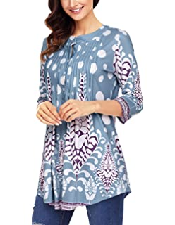 0266623d83d Womens Floral Print Blouse Tops 3/4 Long Sleeves Casual Loose Floral Tunic  Button Up