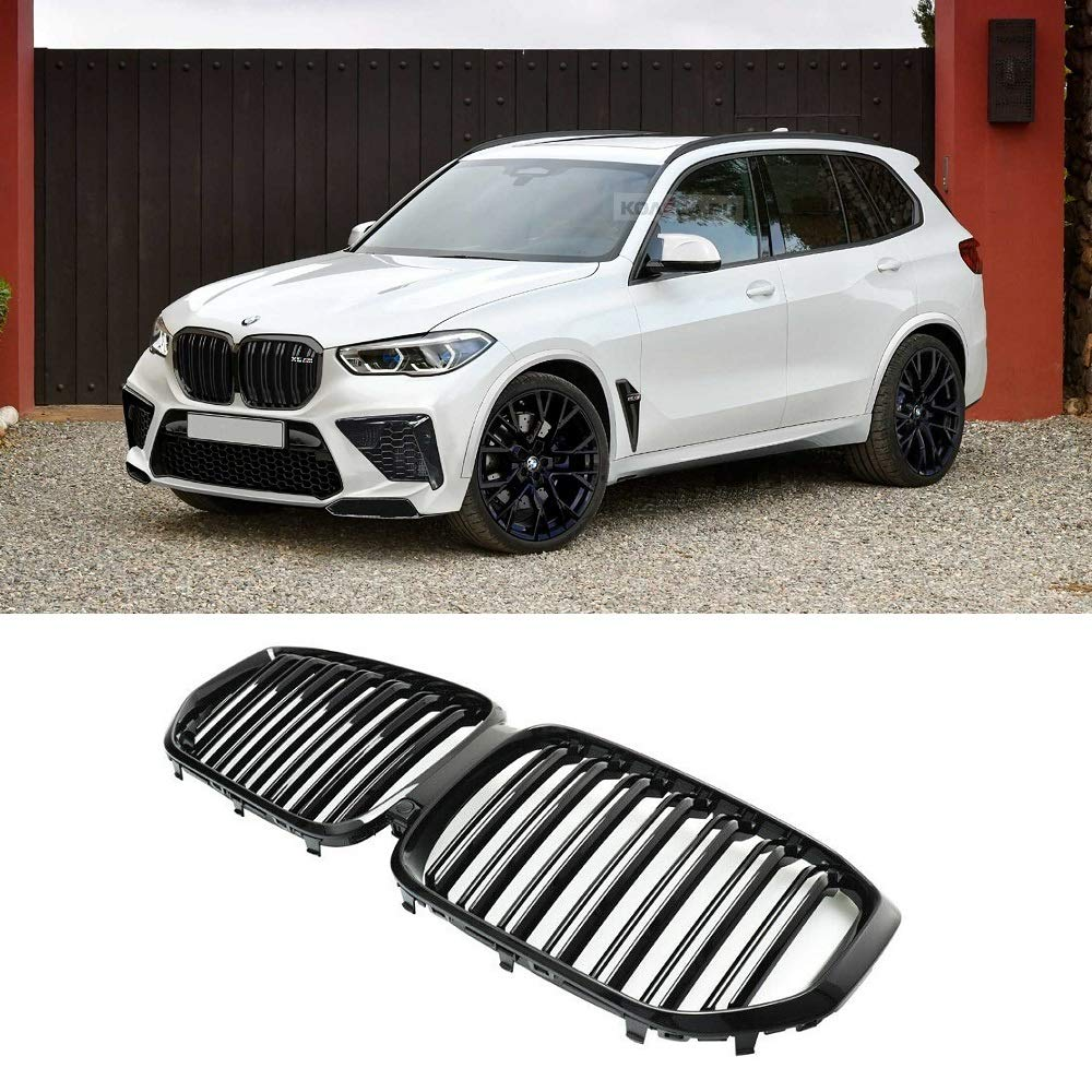 BMW X Series >> Glossy Black X5m Style Double Slat Kidney Grille For Bmw X5 G05 2019 2020 Front Grill Insert Hood Replacement X Series M Type