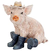 Bits Pieces - Pig in Boots Sculpture - Polyresin Home Garden Decorative Animal Statue