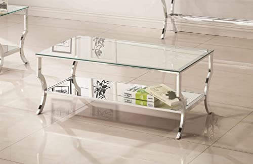 Coaster 720338 Rectangular Coffee Table with Mirrored Shelf Chrome
