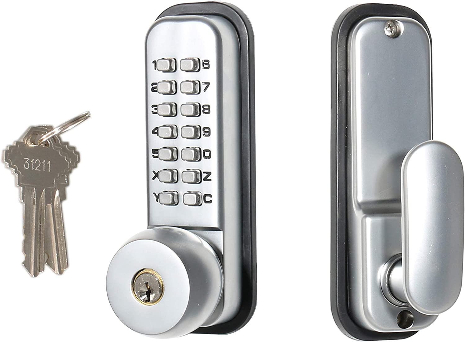 Airbnb Fits All Standard Doors Warehouse All-Weather Security for Doors Garage 14 Digit Combination Storage Shed Gates MUTEX MX370 Mechanical Keyless and//or Keyed Entry Lock Set