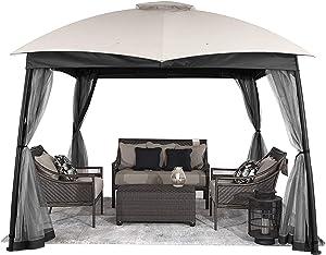 CHARMELEON 10x10 gazebos for patios, Double Vent Waterproof Outdoor Gazebo Canopy, Arc Leg Gazebo with Mosquito Netting for Backyard, Deck and Patio
