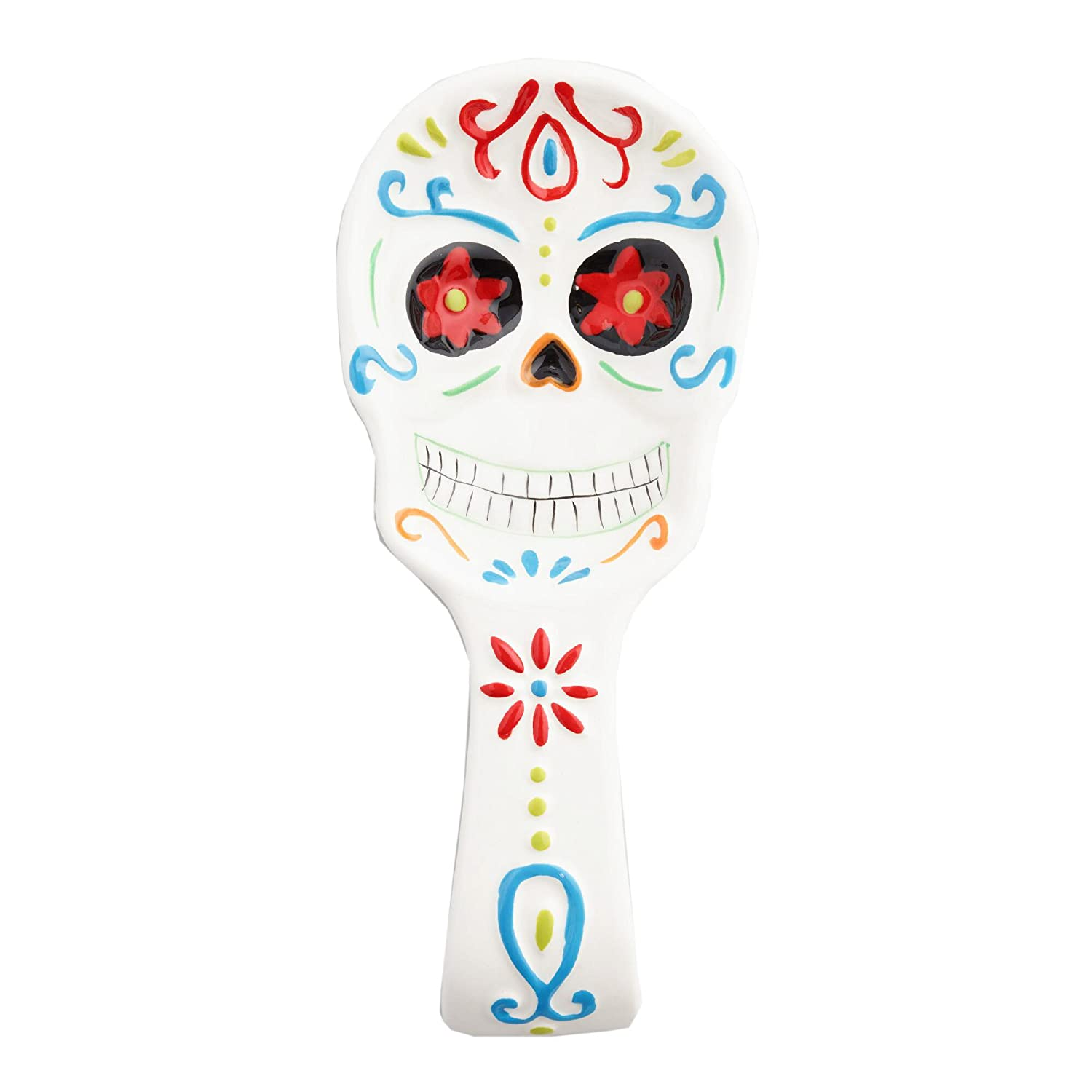 World Market Los Muertos Day of Dead Ceramic Spoon Rest – Cooking Utensil Holder | Ladle Rest Cooking Spoon | Novelty Kitchen Tools and Accessories | Presents for Dia De Muertos Collectors
