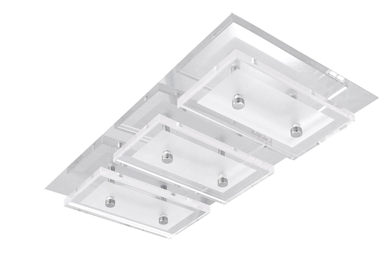 Trango IP44(3luces, diseño de baño)–Lámpara cuadrada de luz LED de techo - Incluye módulo LED TG2263 directo de 230V [Clase de eficiencia energética A+]