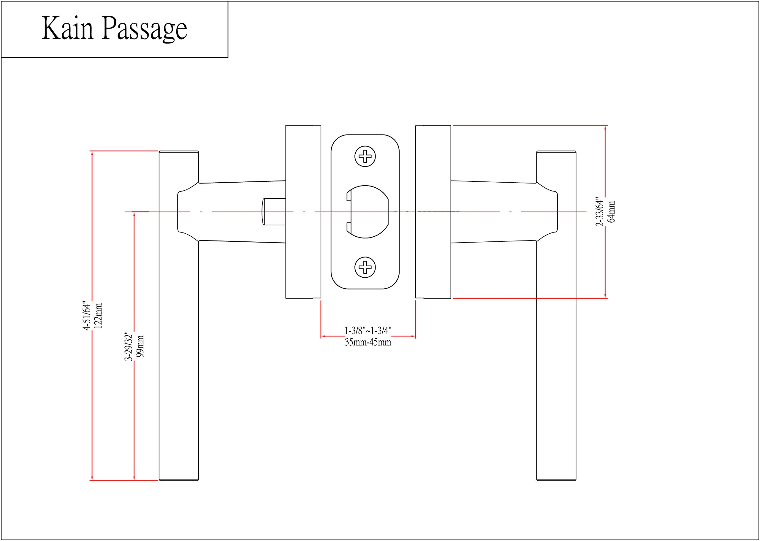 Designers Impressions Kain Design Contemporary Polished Chrome Passage Euro Door Lever Hardware (Hall and Closet)