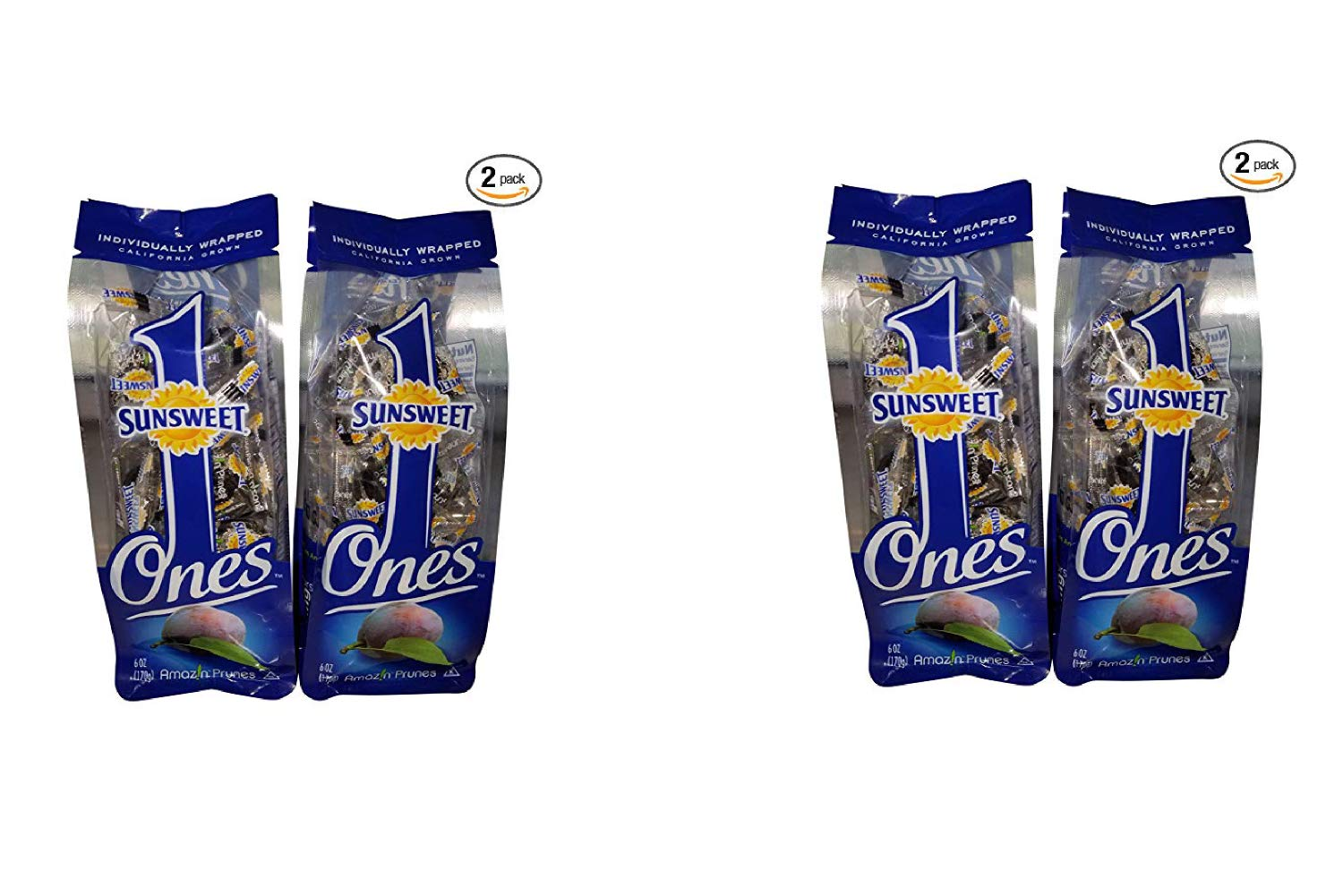 Sunsweet Gold Label Ones Super Select California Individually Wrapped Prunes 6.0 Ounces (Pack of 2)(Packaging May Vary) (2 Pack)