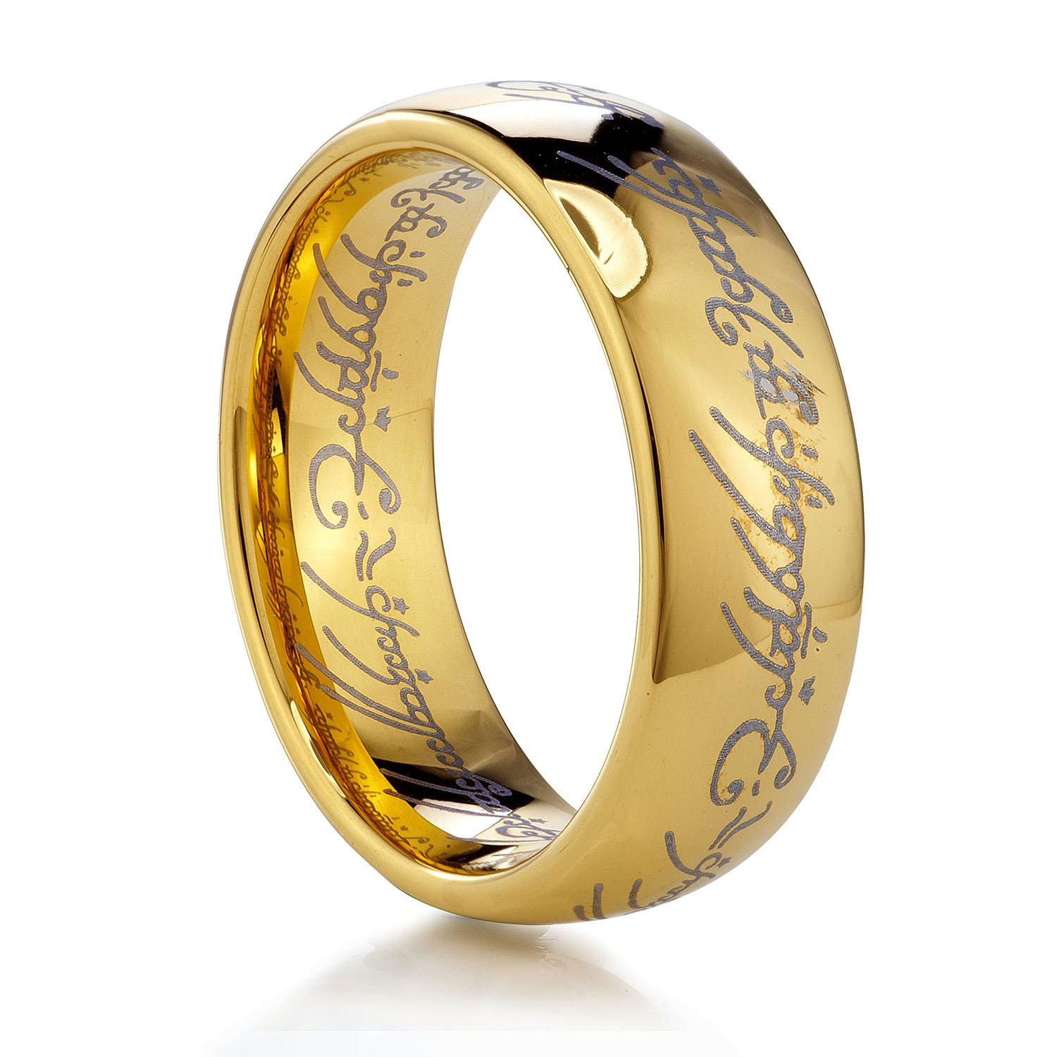 TUSEN JEWELRY Lord of The Rings Gold Color Tungsten Ring Size:7