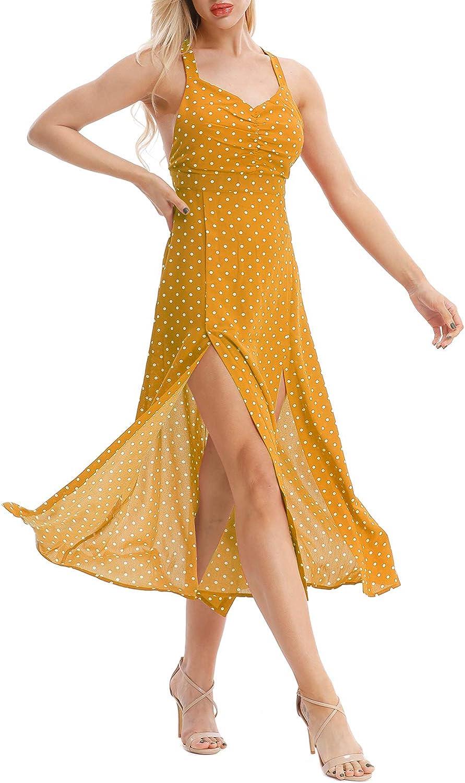 Topee Womens Sleeveless Spaghetti Strap Midi Dress Casual Polka Dot Split Sundress