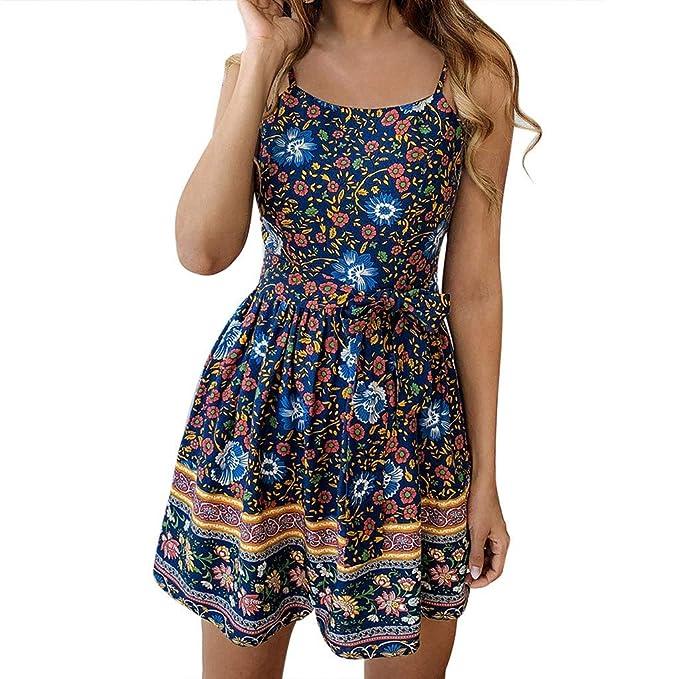 Amazon.com: Vestido corto de mujer Boho con estampado floral ...