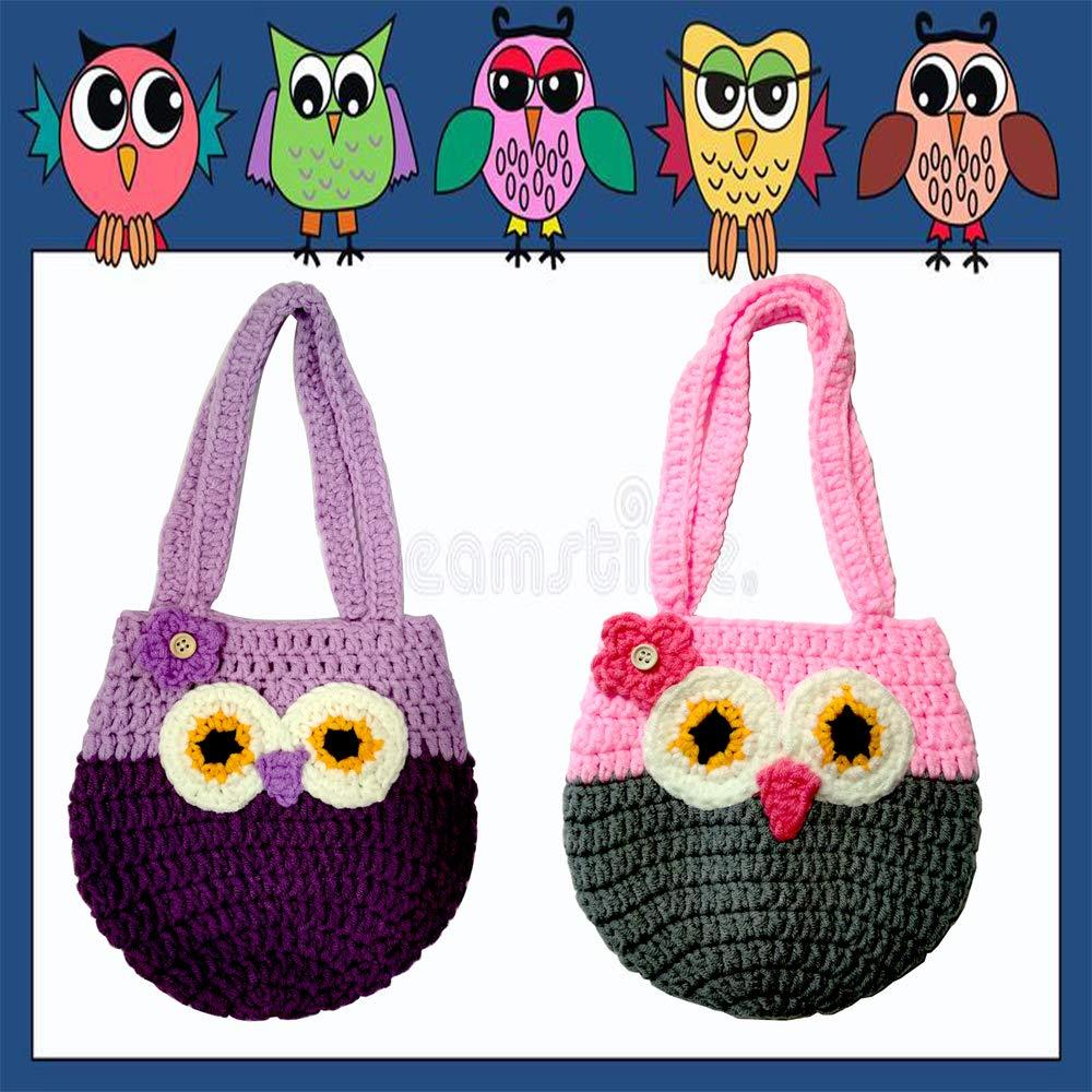 Life Space Cute Happy Owl Mini Purse / Handbag, Nature Soft Cotton/Milk Fiber, Crochet, Handmade - Great Special Present for 2,3,4,5,6 Year Preschool Girls (purple) by Life Space (Image #4)
