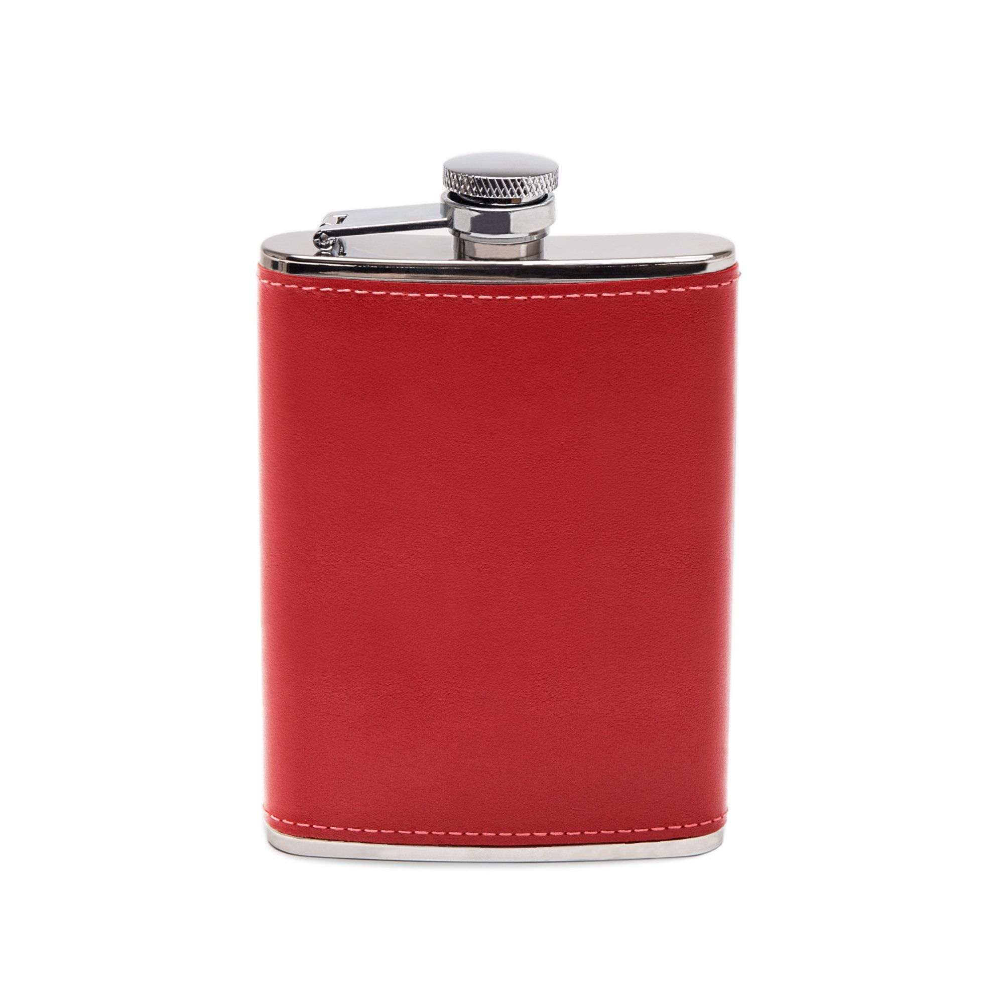 Ettinger Sterling Collection Captive Top Leather Bound Hip Flask, 6 Ounces - Red/Silver