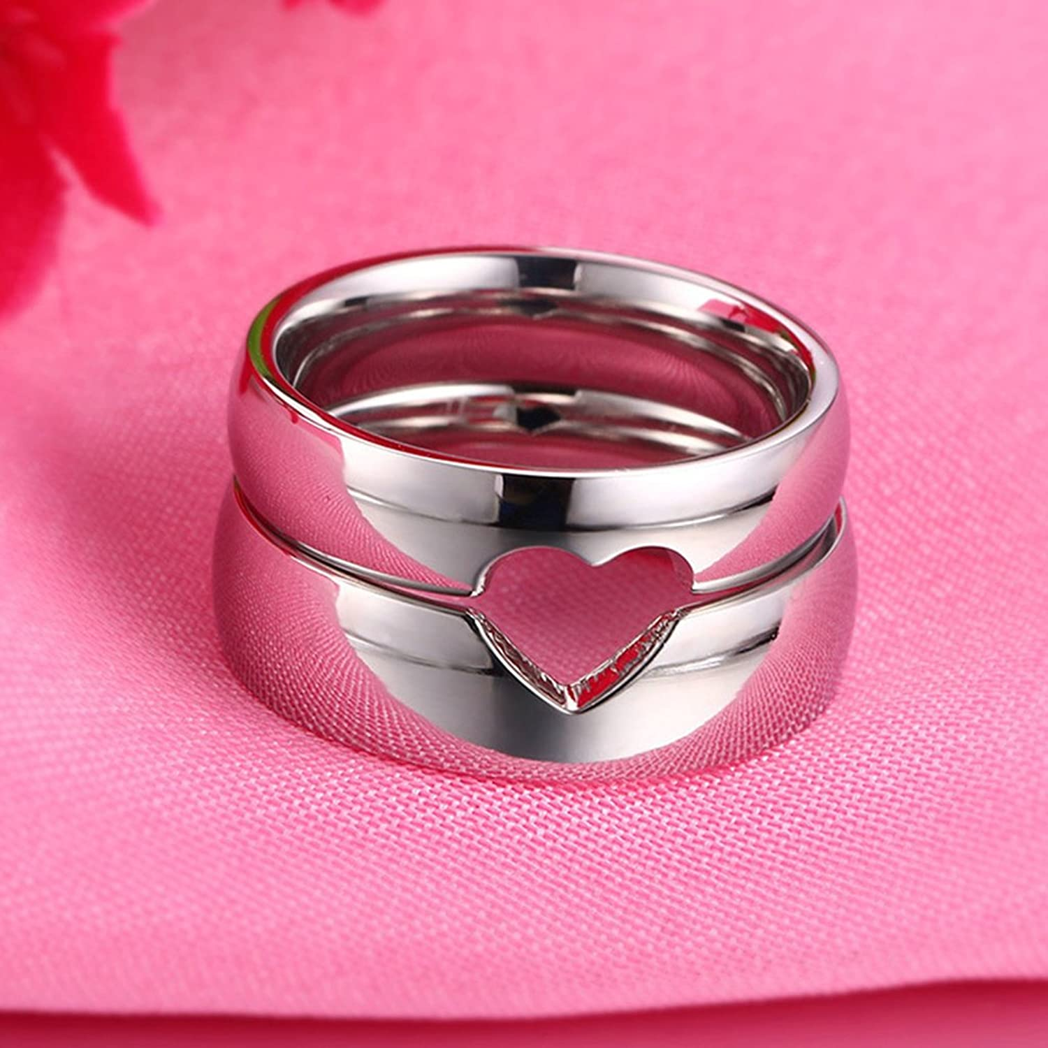 AnaZoz Stainless Steel Wedding Ring And Band Women Size 5 & Men Size ...
