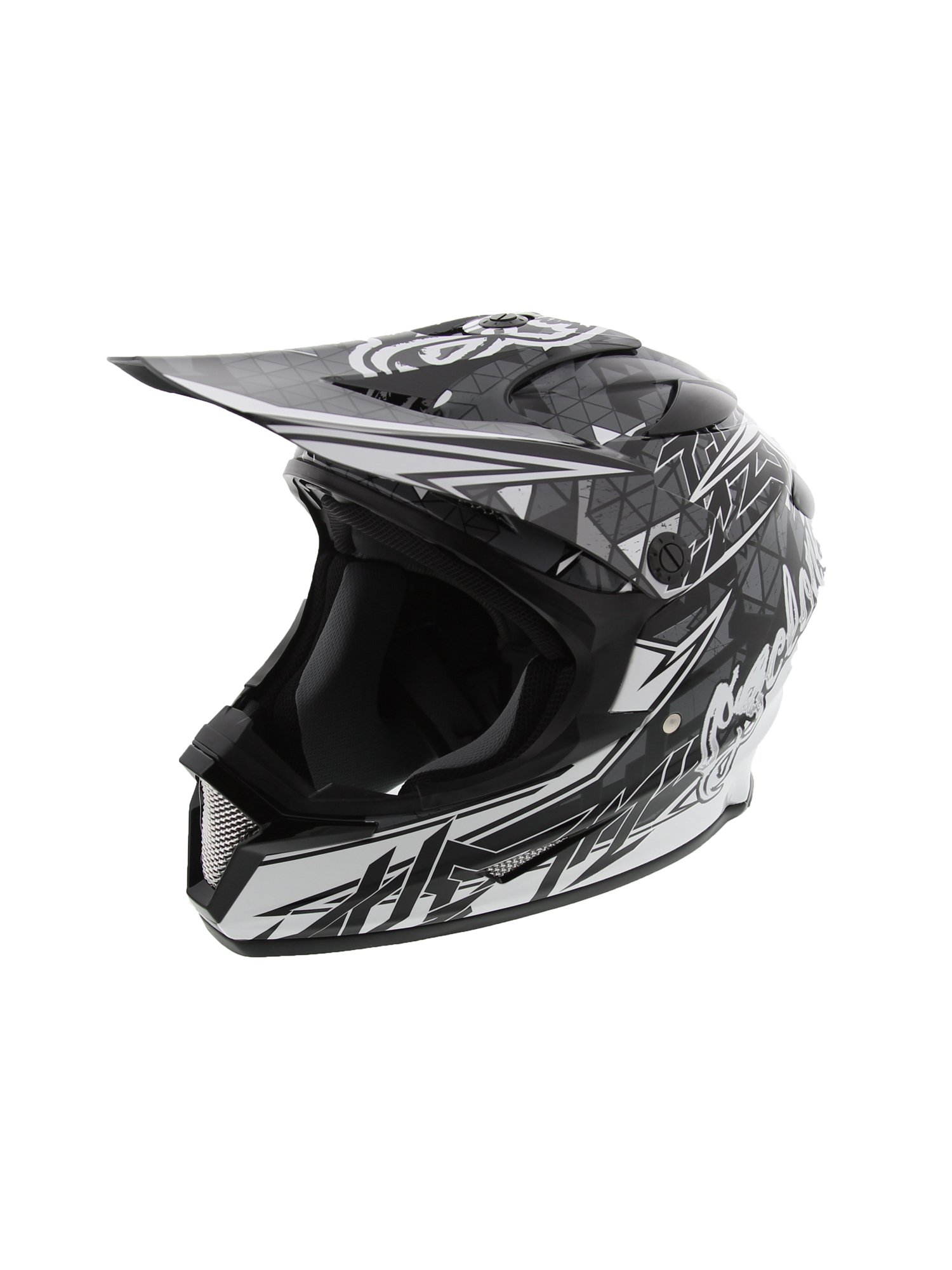 Cyclone ATV MX Dirt Bike Off-Road Helmet DOT/ECE Approved - Black/White - XXL