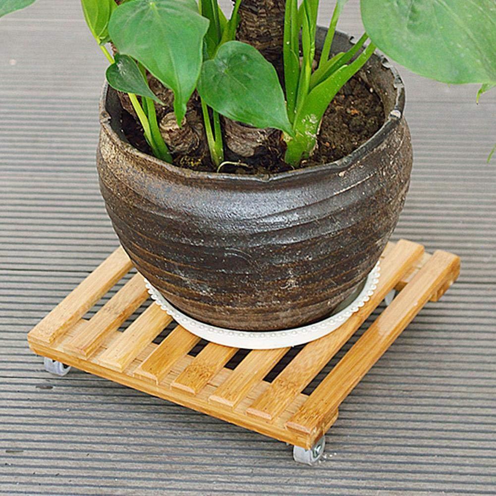 Dessous de Pot de Fleur en Bois Chariot de Pot de Plante Massif /à roulettes Charge Max 100 kg