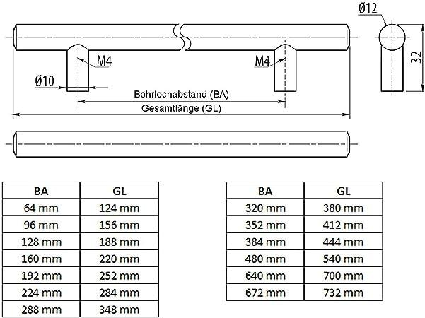 SO-TECH/® G6 Poign/ée barre Poign/ée de meuble Acier affin/é Trou dentraxe 640 mm /Ø 12 mm