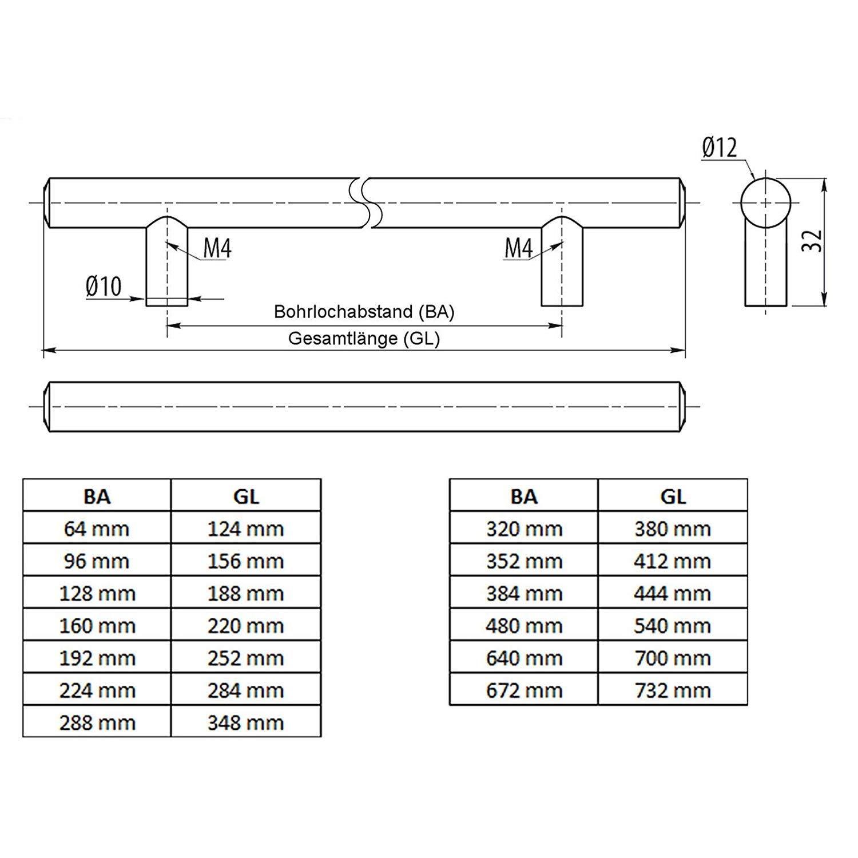 SO-TECH/® G6 Stangengriff M/öbelgriff Echt Edelstahl BA 384 mm /Ø 12 mm