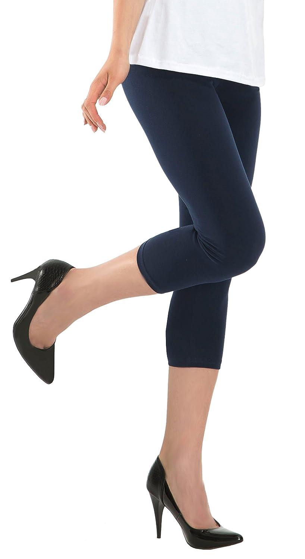 BeLady Leggings Donna Cotone 3/4 Capri Opaco Sportivi o Casual Molti Colori Nero Grigio Blu marina Grafite Blu Bianco Marrone Rosa Beige S M L XL 2XL 3XL 4XL 5XL 6XL 7XL 8XL