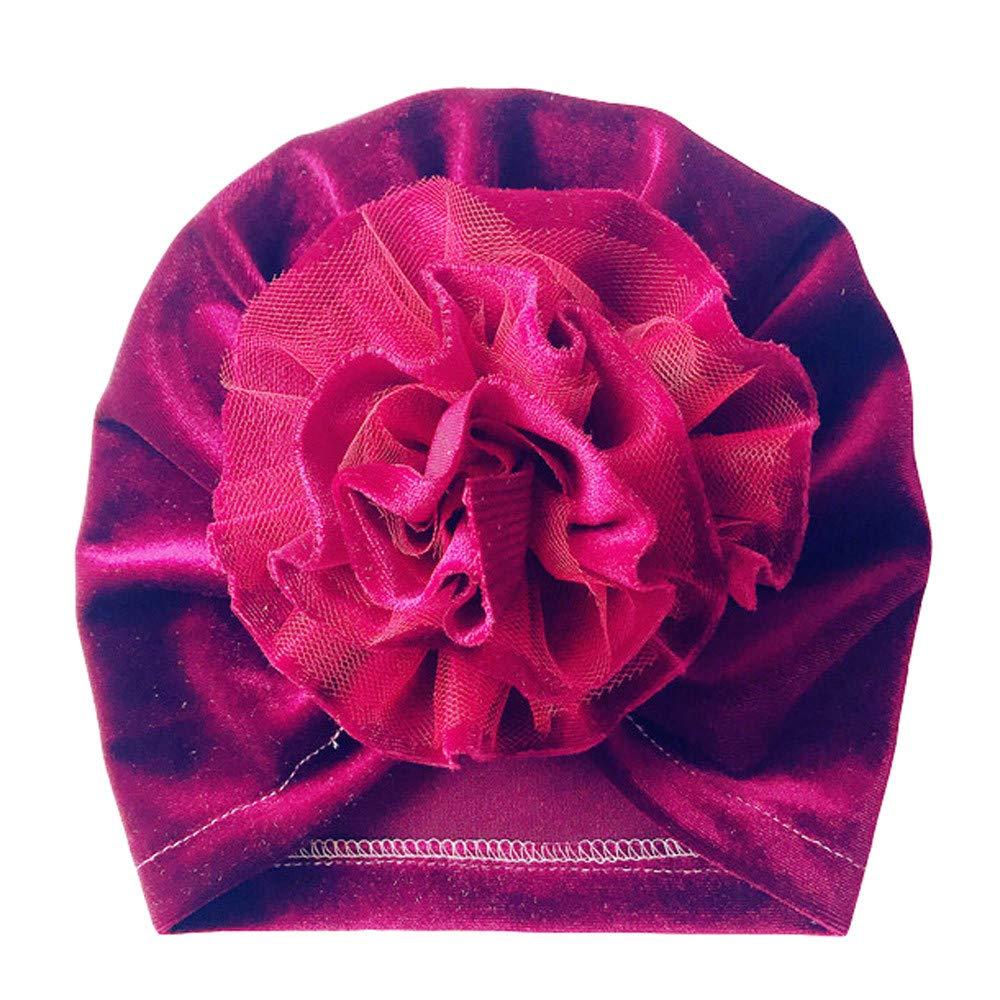 Bebe Fille Bonnet Nœ ud Turban Bonnet Chaud Hiver Bé bé s 3 Mois - 6 Ans en Velours (Rose) Ouneed
