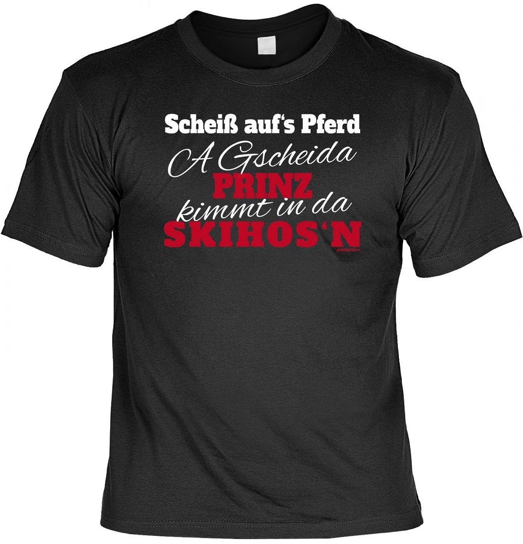 Cooles T-Shirt mit Bayerischen Spruch - A Gscheida Prinz kimmt in da Skihos´n - geiles Pisten Party Geschenk Outfit
