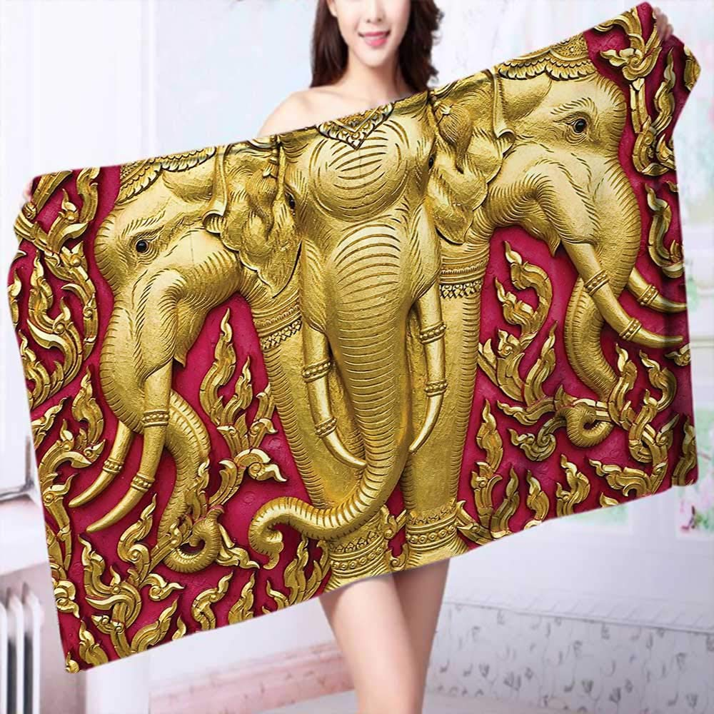 PRUNUS 100% Cotton Super Absorbent Bath Towel Elephant Carved Gold Paint on Door Thai Temple Spirituality Statue Classic Image Magenta Fast Drying, Antibacterial by PRUNUS