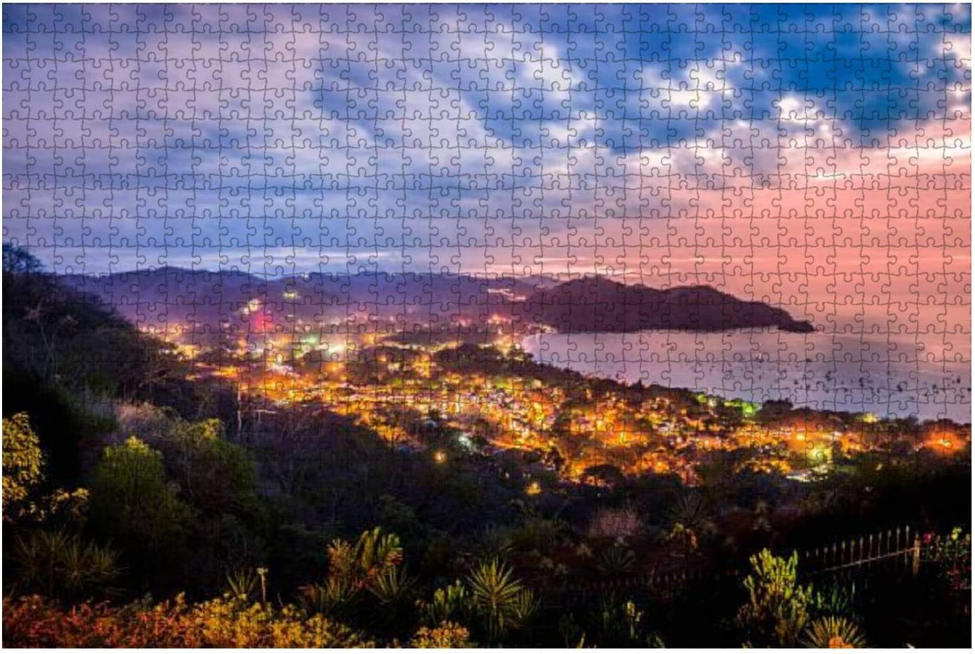 Playas del Coco, guanacaste, Costa rica at Dusk Water City Stock 1000 Piece Wooden Jigsaw Puzzle DIY Children Educational Puzzles Adult Decompression Gift Creative Games Toys Puzzles Home Decor