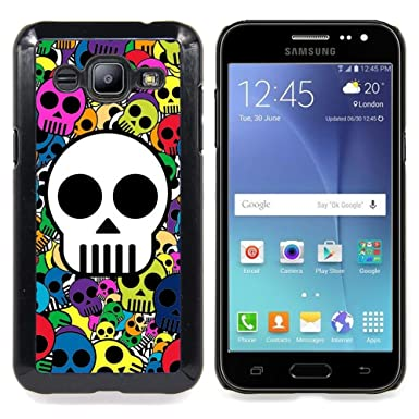 For Samsung Galaxy J2 Skull Wallpaper Colorful Pirate Drawing Case