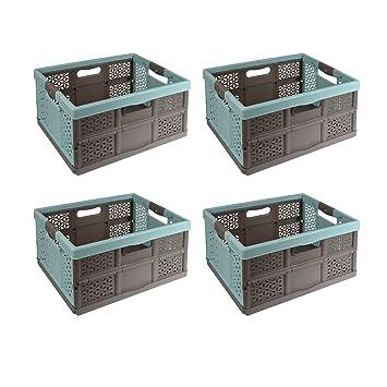 keeeper Stabile Profi-Klappbox mit Soft-Touch Griffen Ben 54 x 37 x 28 cm Gr/ün//Taupe 45 l