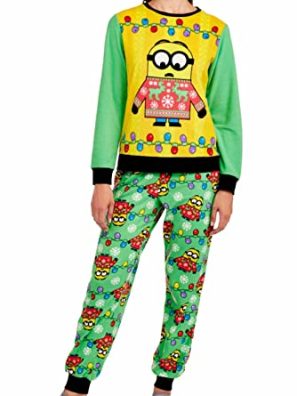 e4dd0f1eabaee9 Despicable Me Minions Women s Christmas Holiday Ugly Sweater Pajamas (XS ...