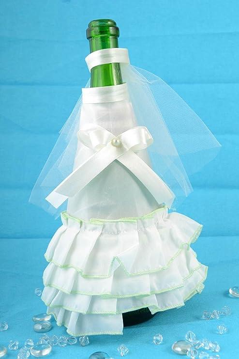 Decoracion para botella de cava traje y velo de novia artesanal original: Amazon.es: Hogar