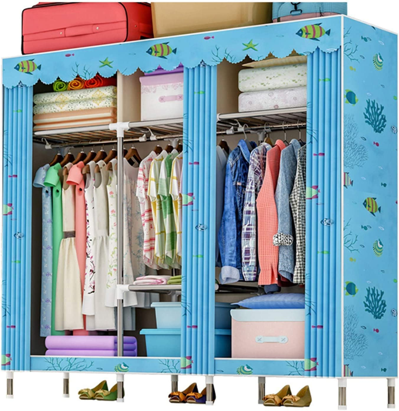 N/Z Home Equipment Canvas Wardrobe Wardrobe Armoire Closet Clothes Storage Rack 7 Shelves 4 Side Pockets 3 Hanging Rail Quick and Easy to Assemble (Color : D4 Size : 167X46X168cm)