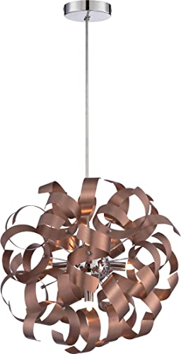 Quoizel RBN2817SG Ribbons Curved Metal Pendant Ceiling Lighting, 5-Light, Xenon 200 Watts, Satin Copper 17 H x 17 W