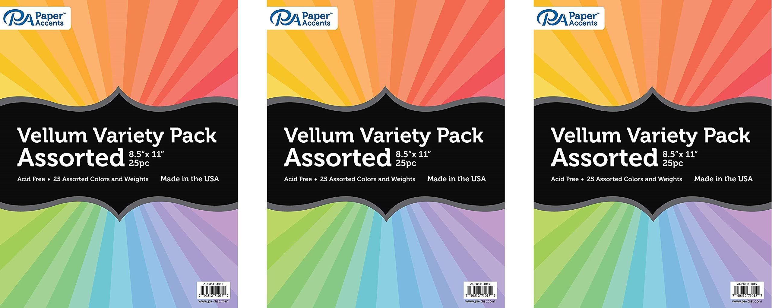 PA Paper Accents ADP8511.1015 Assorted Vellum, 8.5''x 11'', (Тhree Pаck)