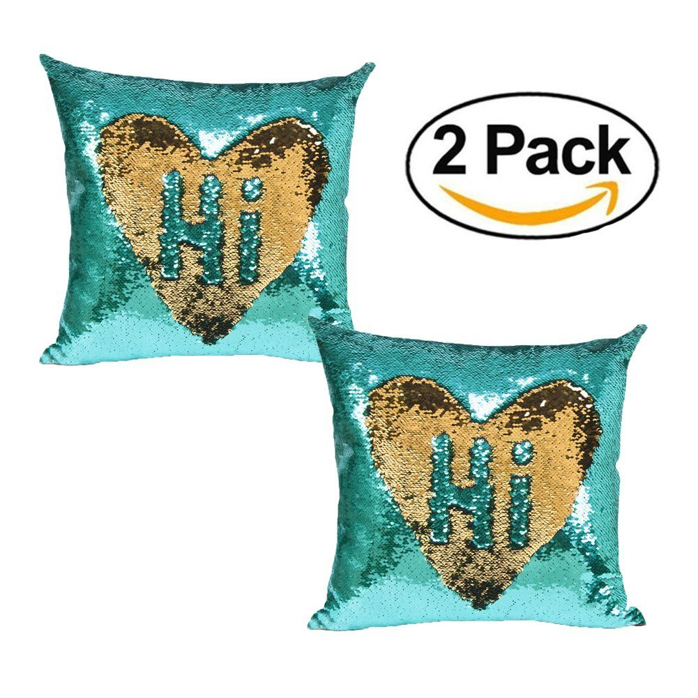 Ursulay Mermaid Pillow Cover,2 Packs Magic Reversible Sequin Pillow Cover Throw Cushion Case 16''X16''