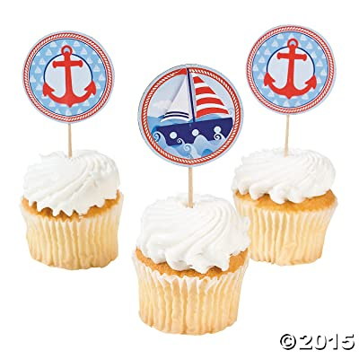 Fun Express Nautical Sailor Theme Cupcake Picks - 25 ct: Toys & Games