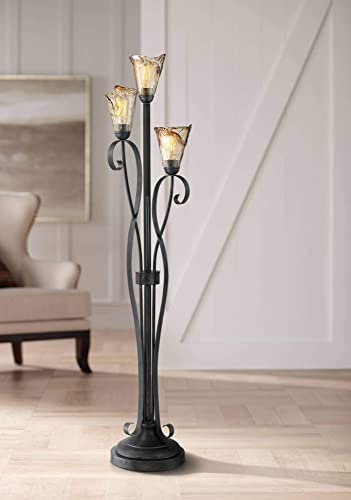 Gardena Rustic Floor Lamp 3-Light Tree Powder Coated Black Wavy Amber Art Glass Shade