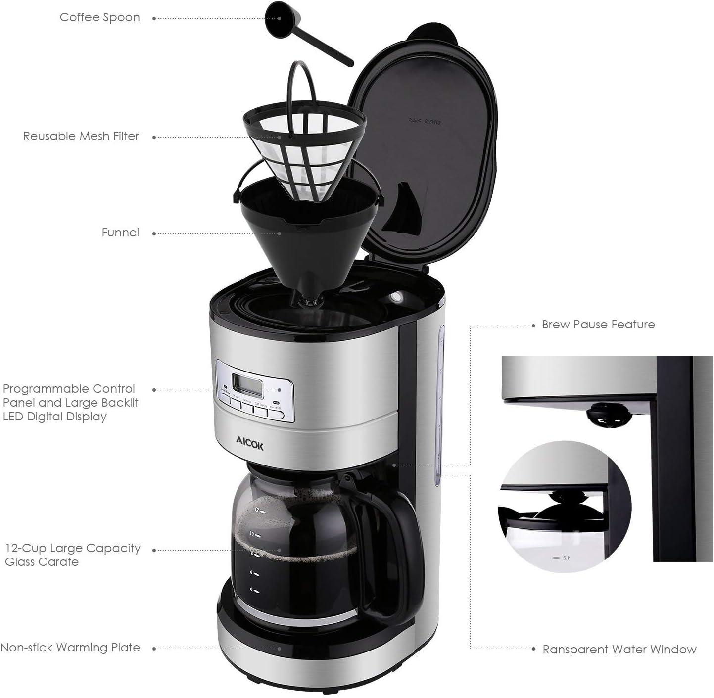 Amazon.com: Cafetera de goteo Aicok, cafetera de acero ...