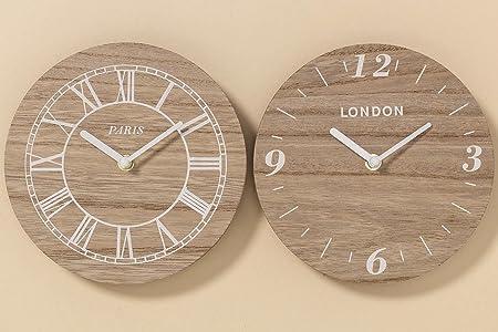 Set de 2 relojes madera Paris – London: Amazon.es: Hogar