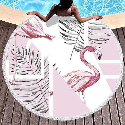Shinelly - Esterilla de Yoga, diseño de flamencos, Mandala India, Redonda, algodón, Mantel, Toalla de Playa, Esterilla de Yoga Redonda, Bufanda, 59 en la Playa, Tiempo Libre, Blanco, 150 cm: Amazon.es: Hogar