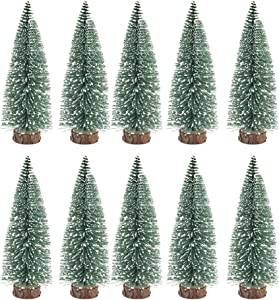 BESPORTBLE 10Pcs 10Cm Mini Christmas Tree Decor with Snow Covered Pine Tree Artificial Xmas Trees for Home Party Bar Craft Displaying Decktop Ornament