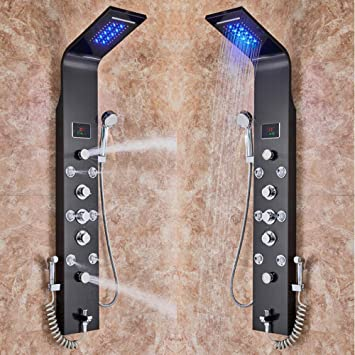 Panel de ducha de lluvia LED de cascada de 6 funciones de acero ...