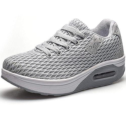 1548a28f8 Mujer Zapatillas de Deporte Malla Air Cuña Cómodos Sneakers Mujer Casual  Running Senderismo Ligero Mesh Zapatillas Gris Negro 35-41  Amazon.es   Zapatos y ...