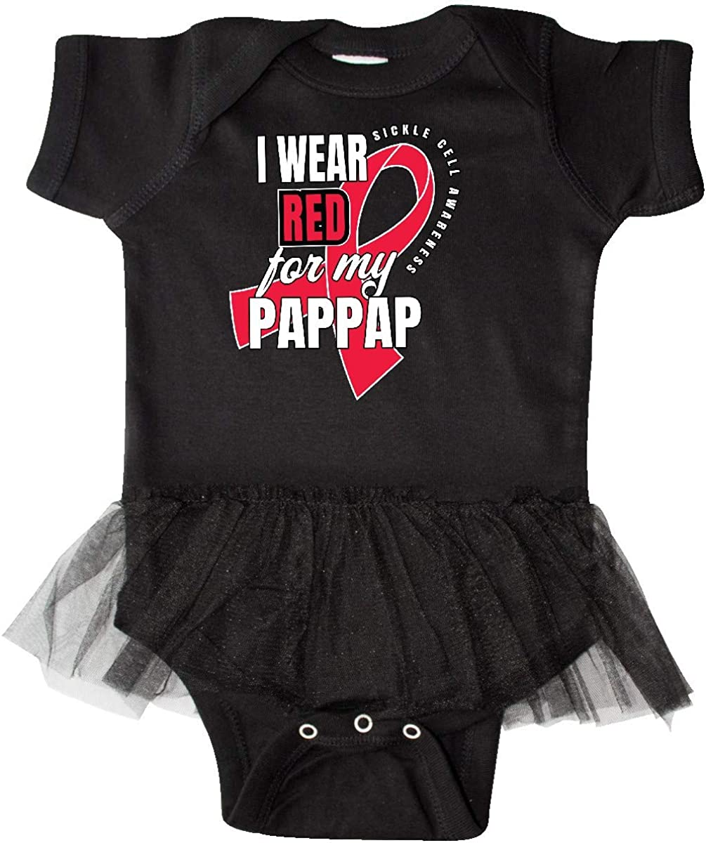 inktastic Sickle Cell Awareness I Wear Red for My Pappap Infant Tutu Bodysuit
