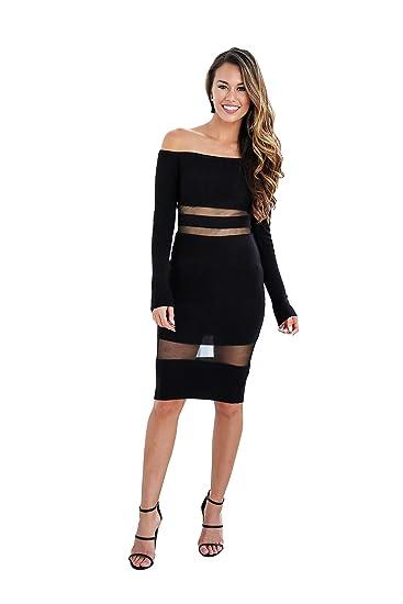 617da033964f Womens Long Sleeve Off The Shoulder Night Club Work Dress at Amazon ...