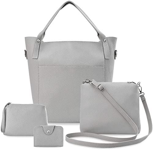 5da271d38f728 Taschen Set Damen Tasche 4 in 1 Shopper Schultertasche Kosmetiktasche  Kartenetui grau
